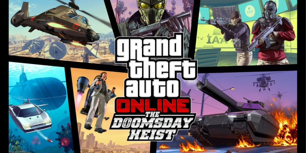 Montage advertising art for GTA Online Doomsday Heist update