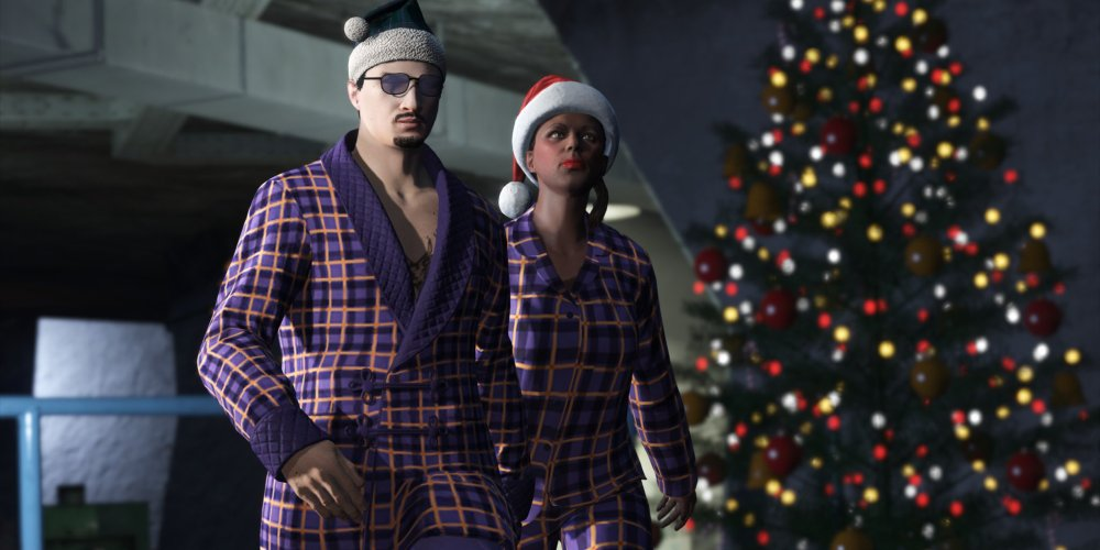 GTA Characters in Christmas robes standing in front of a lit up Christmas tree