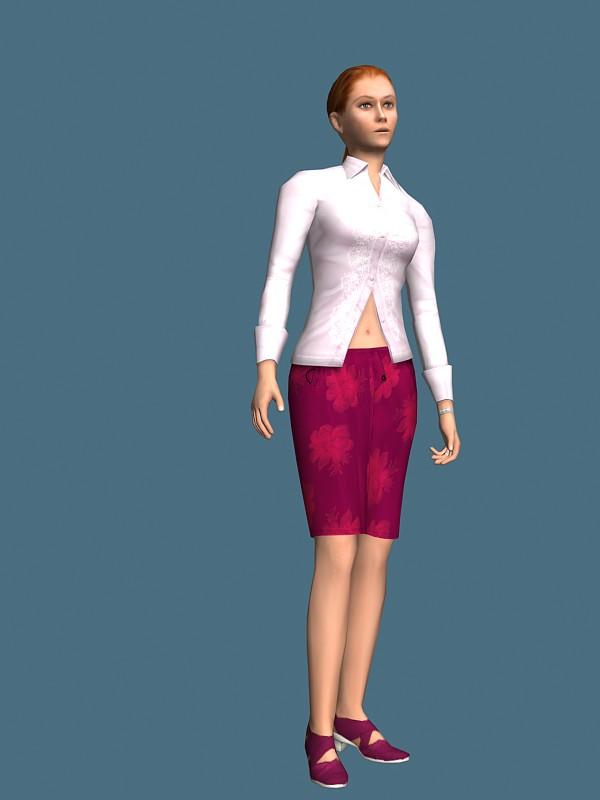 Elegant girl rigged 3d model free | RockThe3D