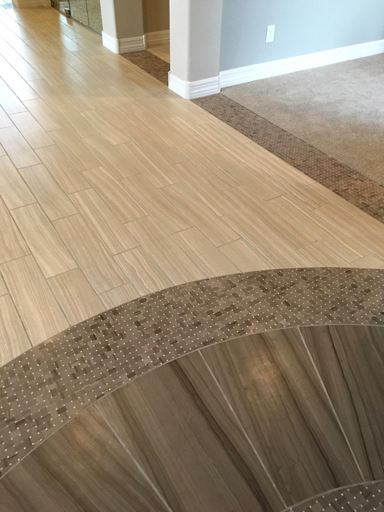 21 Elegant Hardwood Floor With Tile Inlay Unique Flooring Ideas | Tile To Wood Stair Transition | Builder Grade | Upstairs | Residential | Laminate | Entryway