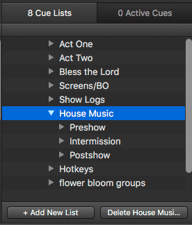 Qlab organization - Multiple Cue Lists and House Music