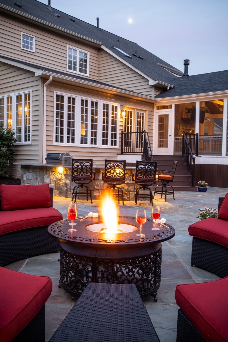 Ashburn, VA Landscape Design Case Study: Adding 3 Outdoor ... on Living Room Fire Pit id=52848