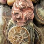 Necklace Set - Fossil AMMONITE on Patterned Brass with Copper Clay and MOOKAITE Beads (JS-12)