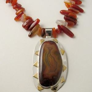 Necklace - COYAMITA AGATE on Sterling Silver and Brass with Red CARNELIAN Beads (JS-17)