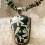 Necklace - Chinese Writing Stone on Sterling Silver Pendant with Green Coral Beads (JS-22)