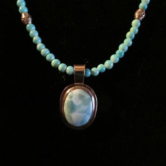 Necklace: Larimar Pendant with Blue Opal Beads (JS-63)