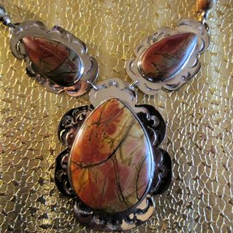Necklace: 3 Piece Stamped Red Creek Jasper with Red Creek Jasper Beads (JS-64)