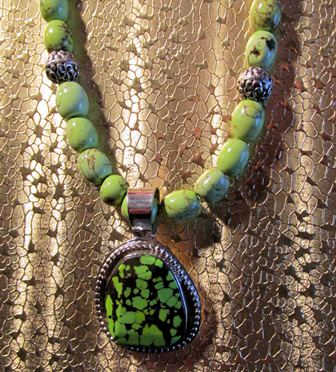 Necklace: Green Turquoise Pendant with Green Turquoise Beads (JS-66)