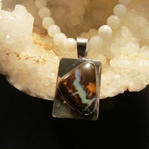 Necklace: Australian Boulder Opal Pendant with White Onyx Faceted Beads (JS-75)