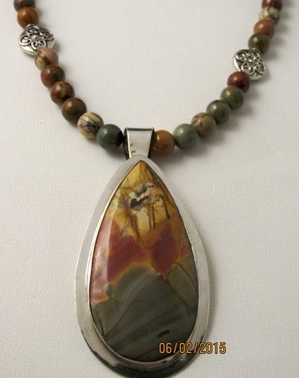 Necklace - RED CREEK JASPER on Sterling Silver Pendant with Red Creek Jasper Beads (JS-19)