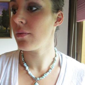 Necklace - LARIMAR on Sterling Silver with LARIMAR Chip Beads (JS-2)