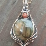 Golden Labradorite with Red Jasper Copper Wire Wrapped Pendant 'Earth Mother' Statement Necklace