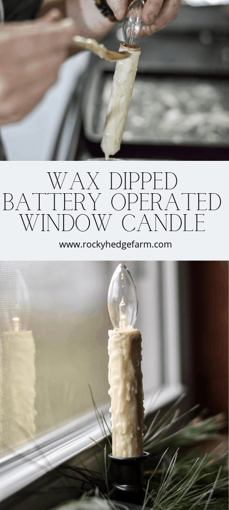 Wax Dipped Window Primitive Battery Operated Candle