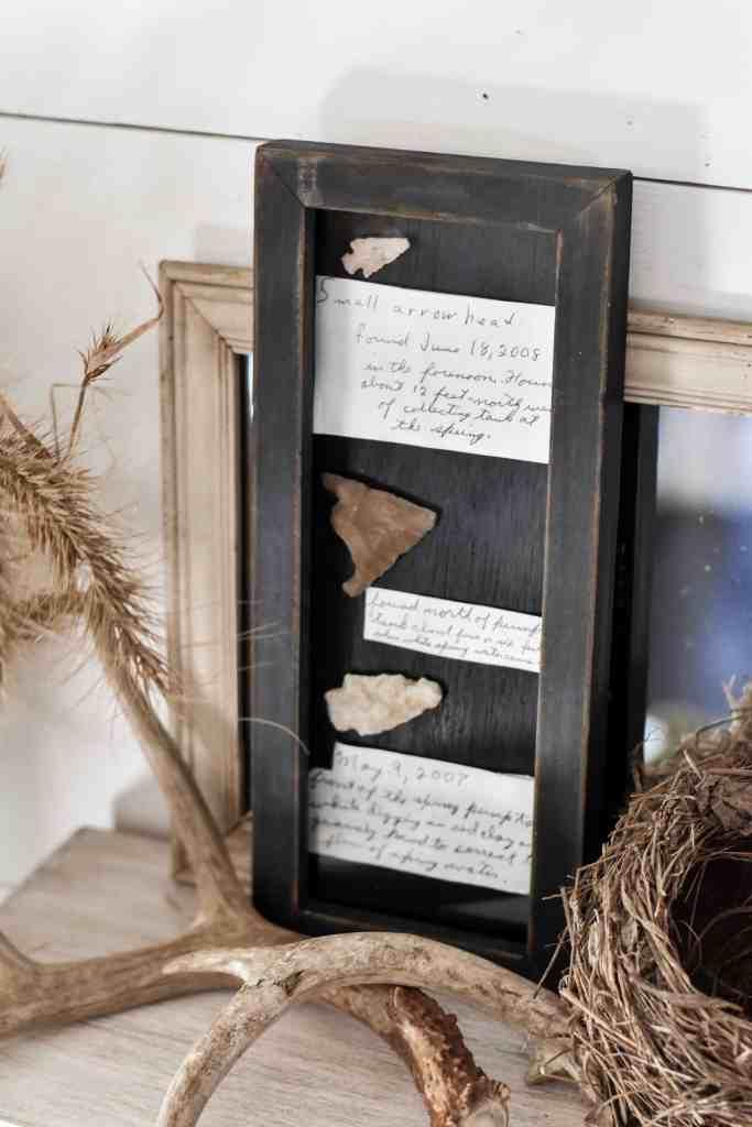 DIY Free Cheap Fall Decor - Framed Arrowheads