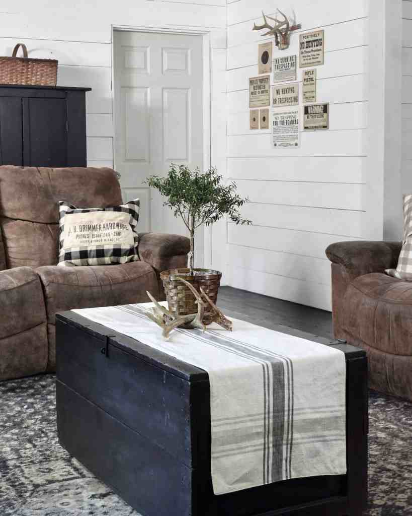 Rustic Farmhouse Living Room  Coffee Table that Serves as Storage for Blankets and Quilts