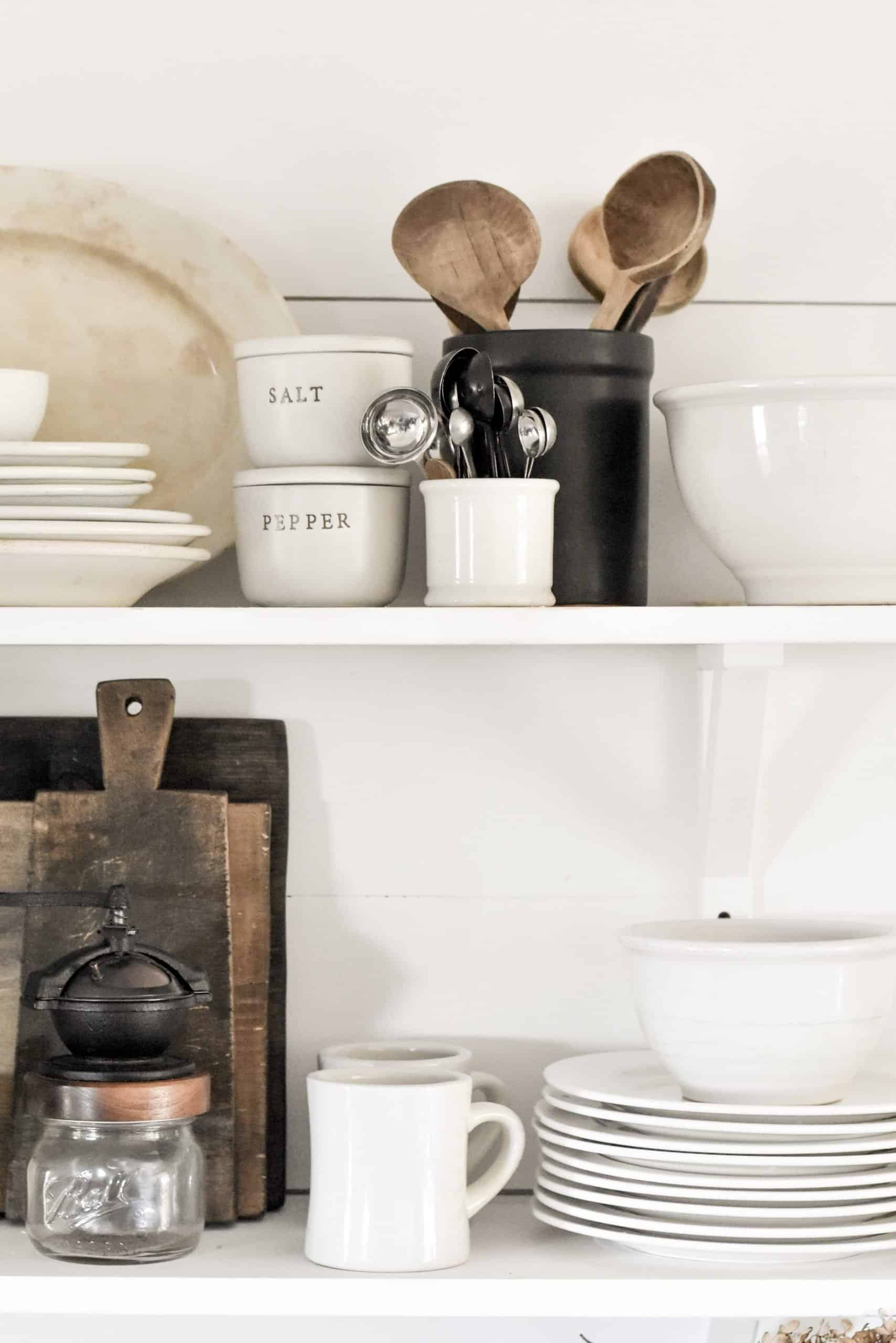 Simple Farmhouse Rustic Kitchen Shelves