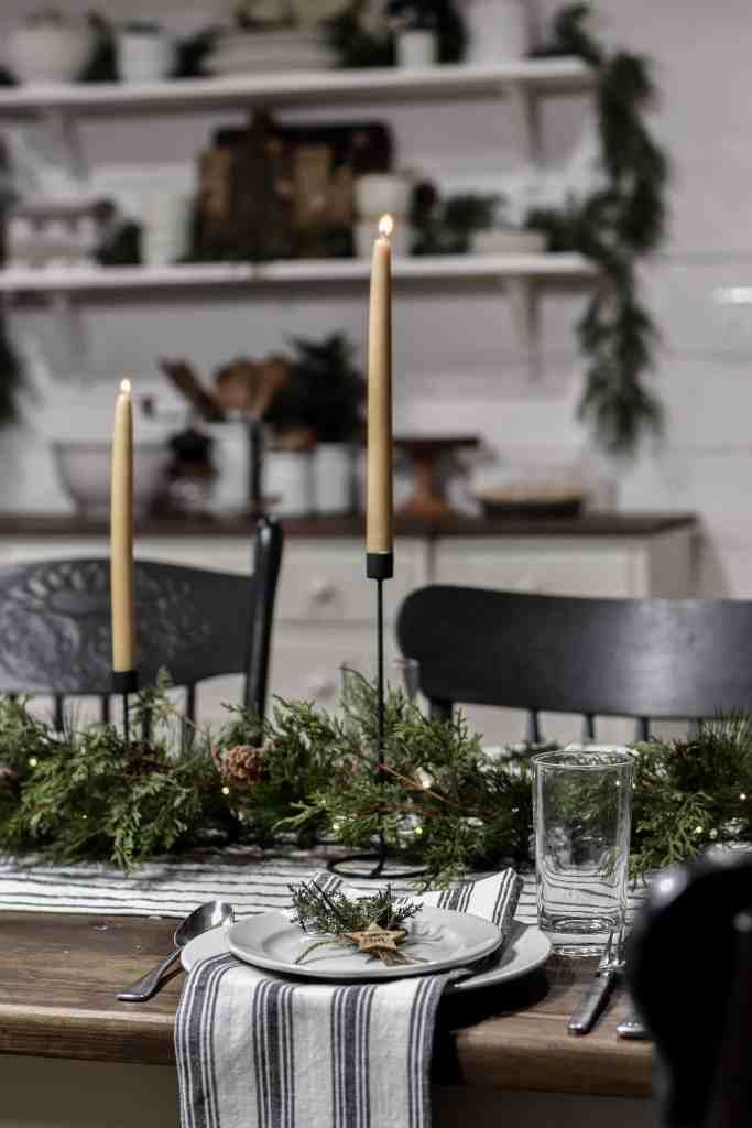 Simple Christmas Table at Night