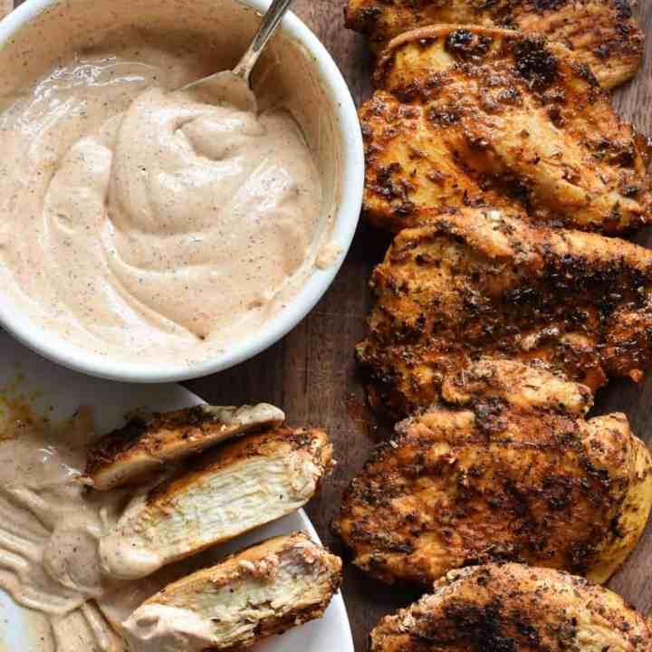 Healthy Blackened Chicken Recipe + Blackened Chicken Dipping Sauce