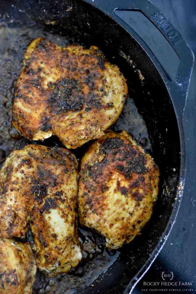 Cast Iron Skillet Blackened Chicken