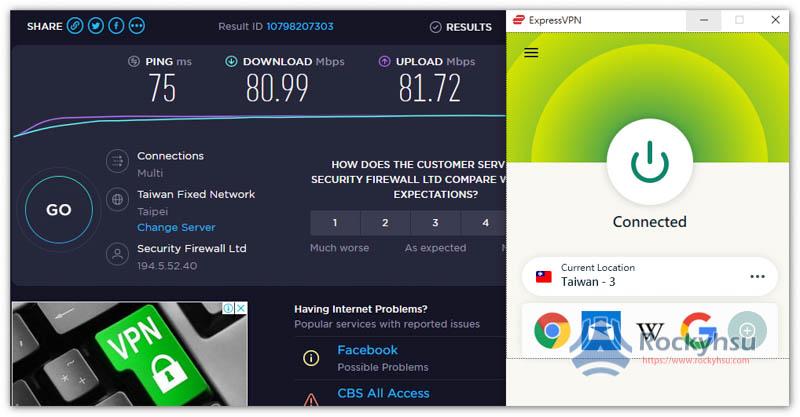 ExpressVPN 台灣速度測試