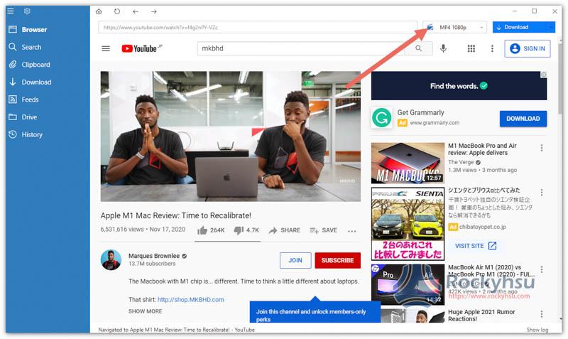 YouTube 下載格式選擇