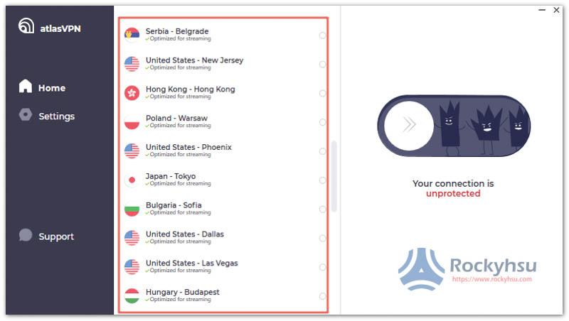 AtlasVPN 伺服器選擇清單
