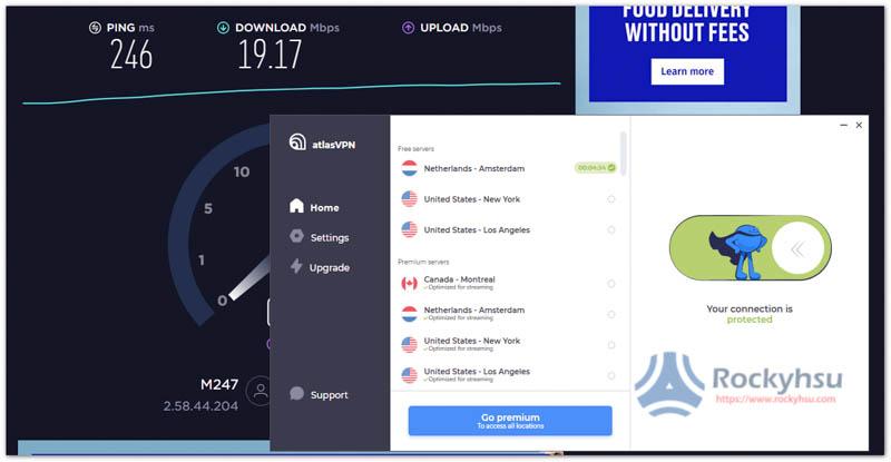 AtlasVPN 免費荷蘭伺服器速度