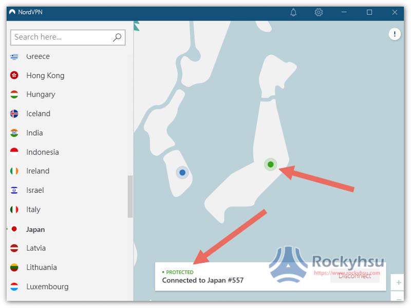NordVPN 連接日本伺服器成功