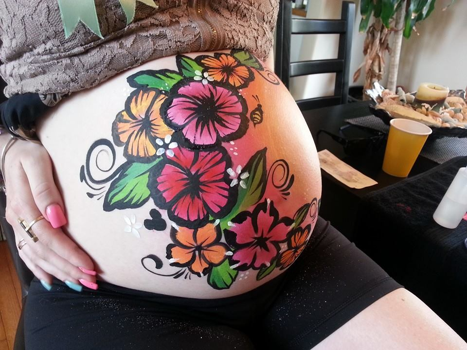 Pregnant tummy painted