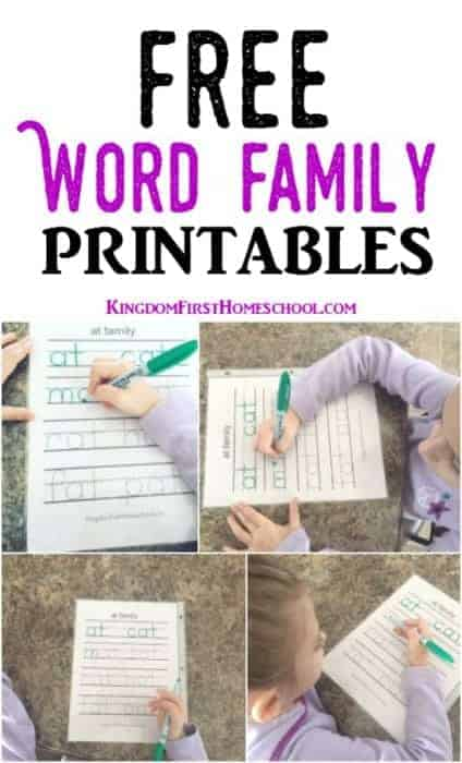 Check out these Free Word Family Printables at Kingdom First Homeschool, featured post of Friday Printables Link-Up Party #3.