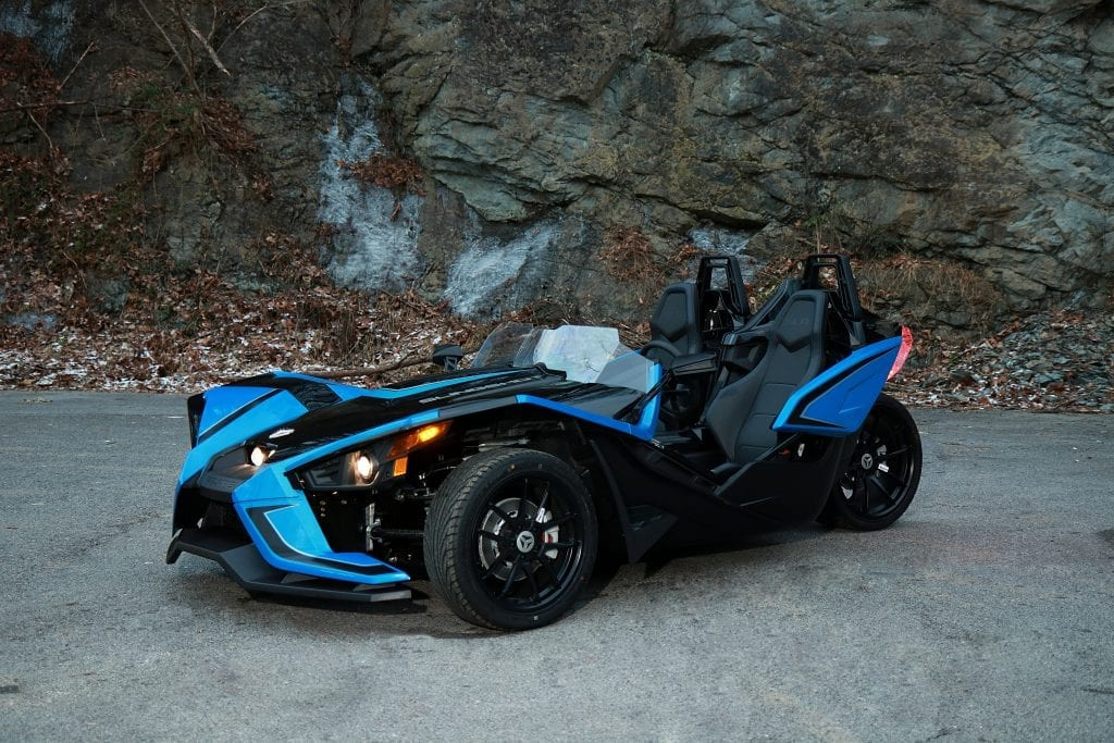 blue and black polaris slingshot