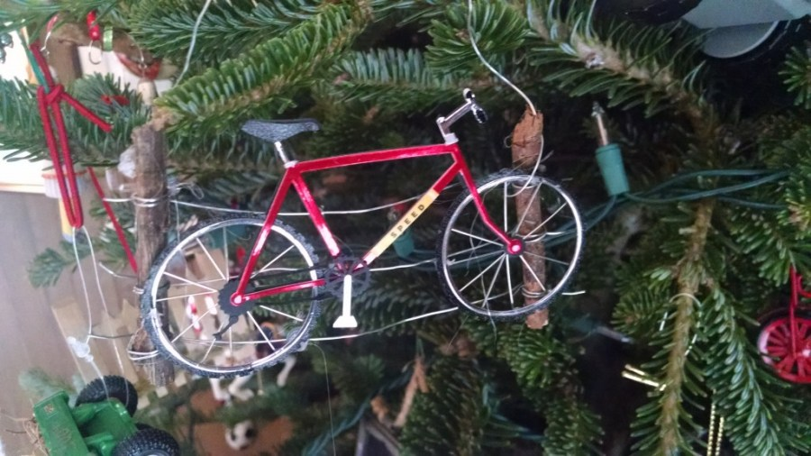 Many of our ornaments involve bicycles.  This one was given after rural Kansas trail ride gone wrong.  We found ourselves bush-whacking and climbing many barbed wire fences.