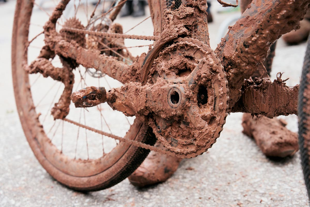 Mud covered chainring set