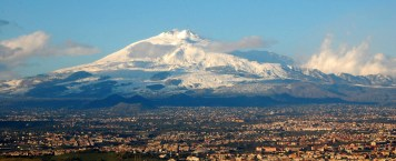 Snow-covered Etna volcano