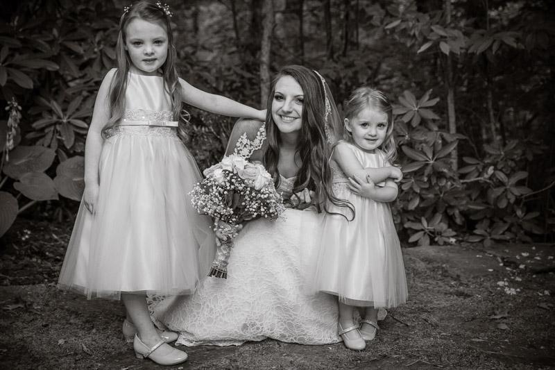 Rodney Smith Photography, RSP, wedding portrait, flower girls, western North Carolina, black and white, sepia