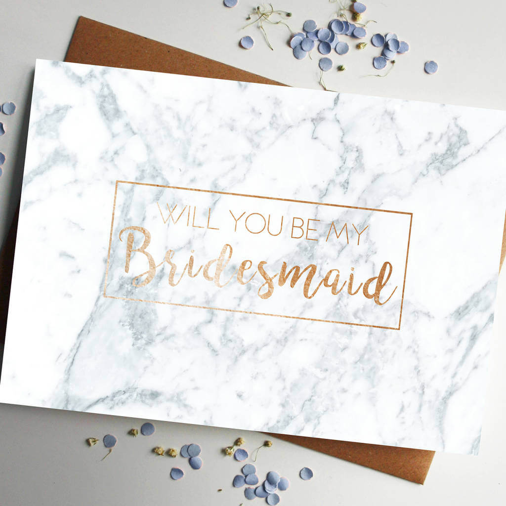Will You Be My Bridesmaid Rose Gold Foiled Marble Card