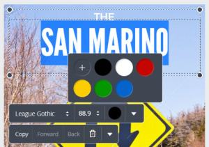 Para alterar a cor, clique sobre o texto e, depois, sobre o círculo preto.