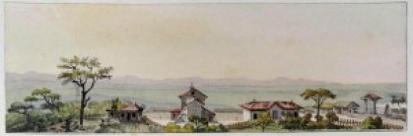 Debret Vista dos fundos da Capela, a partir do topo do Morro do Farol, início do século XIX.