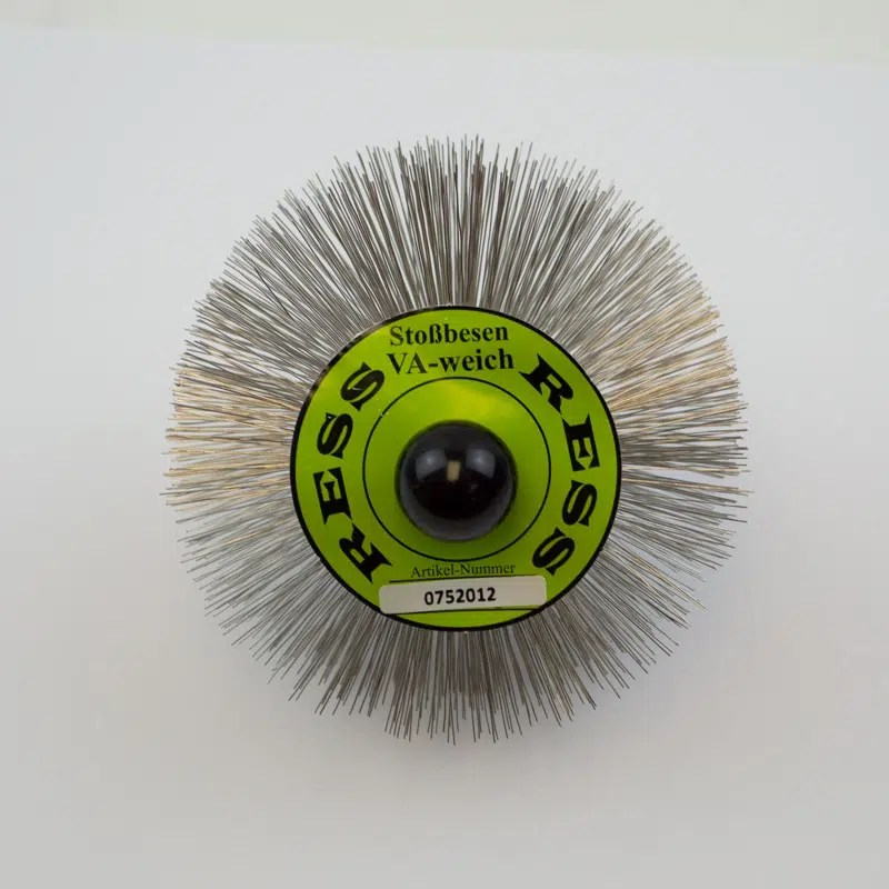 120mm stainless steel brush made of round wire with an M10 thread.