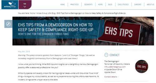 EHS Tips from a Demogorgon