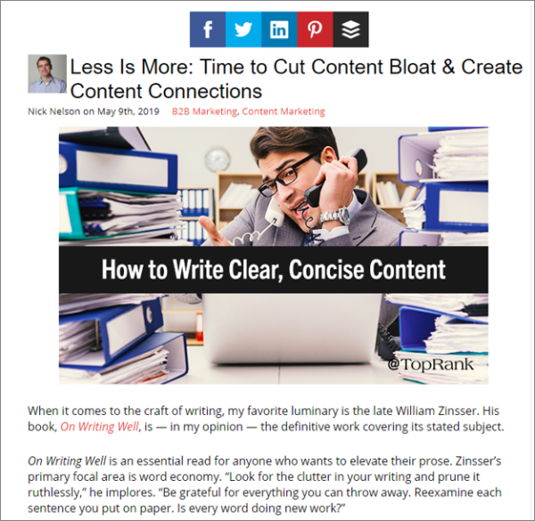 Content Curation Example from TopRank Marketing's Nick Nelson