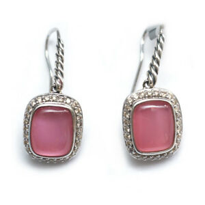 David Yurman 10x 8 Noblesse Earrings in Rose Quartz/ Pink Mother of Pearl and Diamond