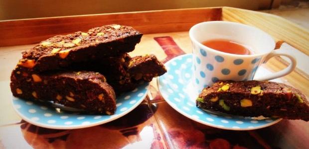 Vegan Cocoa Pistachio Biscotti