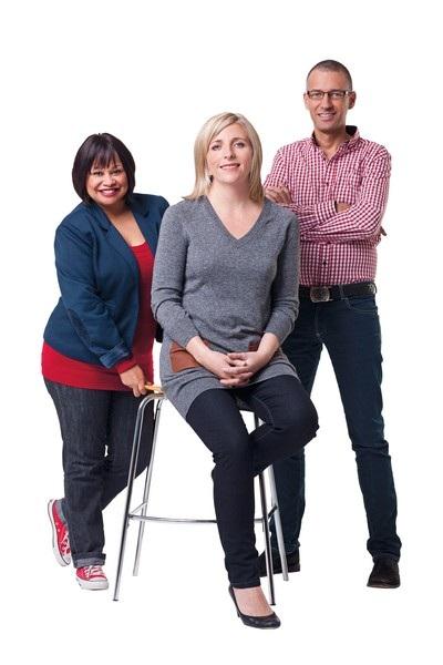 Die beoordelaars Izelle Venter, hoofredakteur, Haidee Muller, verslaggewer en Wicus Pretorius, adjunkredakteur.