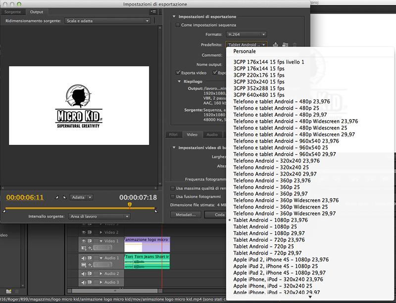 Esportazioni file video