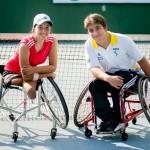 Natália Mayara e Pedro Rocha durante as Paralimpíadas Escolares de 2010.