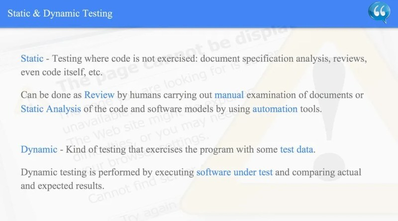 Static & Dynamic Testing - ISTQB