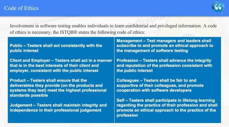 Code of Ethics - ISTQB