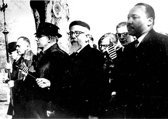 Abraham Joshua Heschel walks with Martin Luther King Jr. on civil rights march from Selma to Montgomery, Alabama. Courtesy of the American Jewish Archives