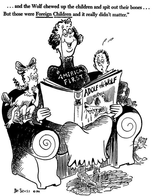 1941 Dr Seuss cartoon illustrating the U.S. stance denying Jews safe haven from the Nazis.